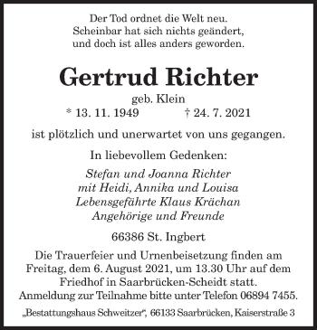 Traueranzeige von Gertrud Richter von saarbruecker_zeitung