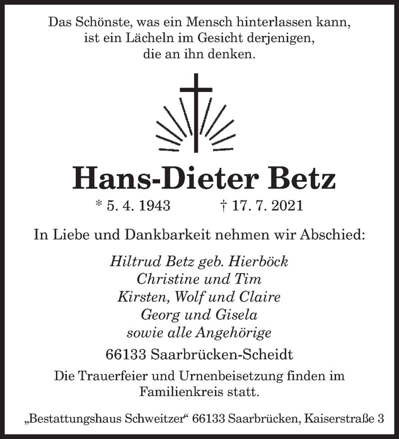 Traueranzeige für Hans-Dieter Betz vom 21.07.2021 aus saarbruecker_zeitung