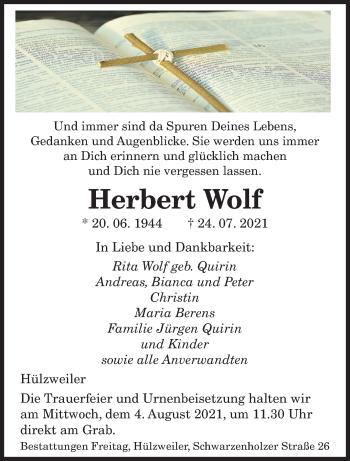 Traueranzeige von Herbert Wolf von saarbruecker_zeitung