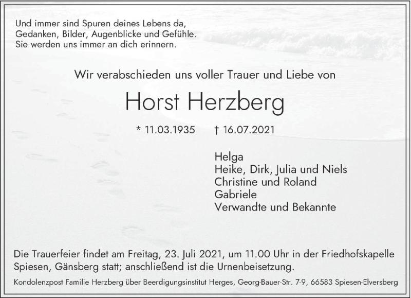 Traueranzeige für Horst Herzberg vom 21.07.2021 aus saarbruecker_zeitung