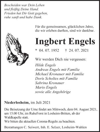 Traueranzeige von Ingbert Engels von saarbruecker_zeitung