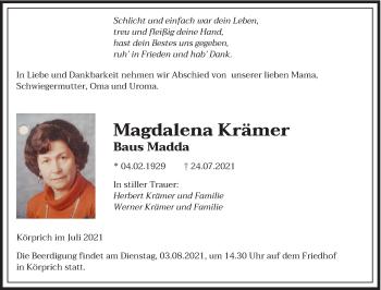 Traueranzeige von Magdalena Krämer von saarbruecker_zeitung