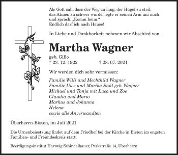 Traueranzeige von Martha Wagner von saarbruecker_zeitung