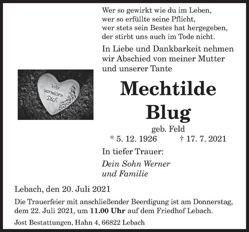 Traueranzeige für Mechtilde Blug vom 20.07.2021 aus saarbruecker_zeitung