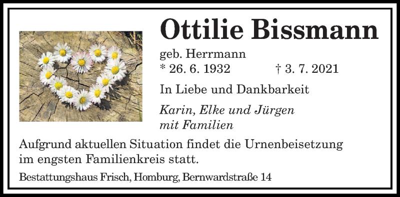 Traueranzeige für Ottilie Bissmann vom 07.07.2021 aus saarbruecker_zeitung