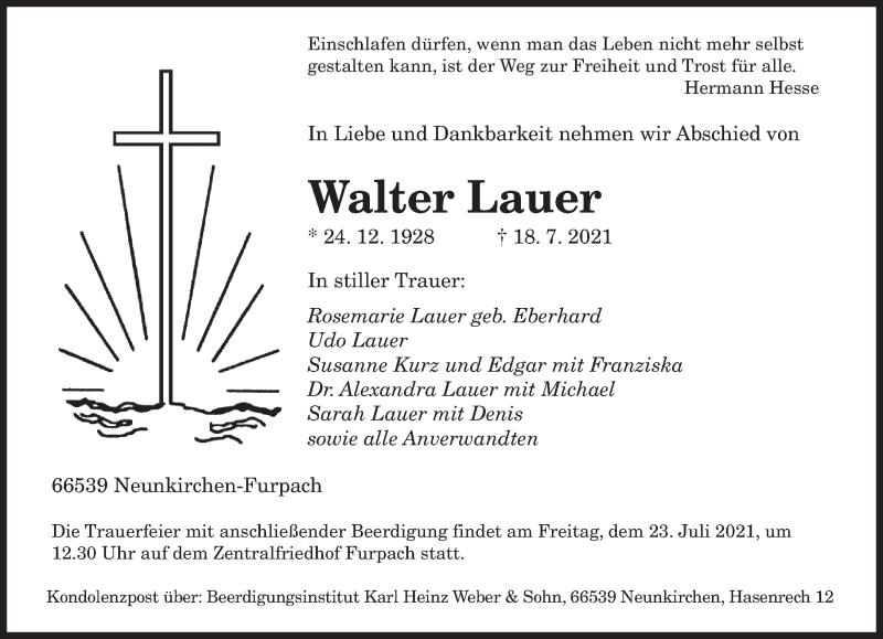 Traueranzeige für Walter Lauer vom 21.07.2021 aus saarbruecker_zeitung