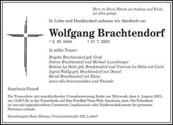 Traueranzeige von Wolfgang Brachtendorf von saarbruecker_zeitung
