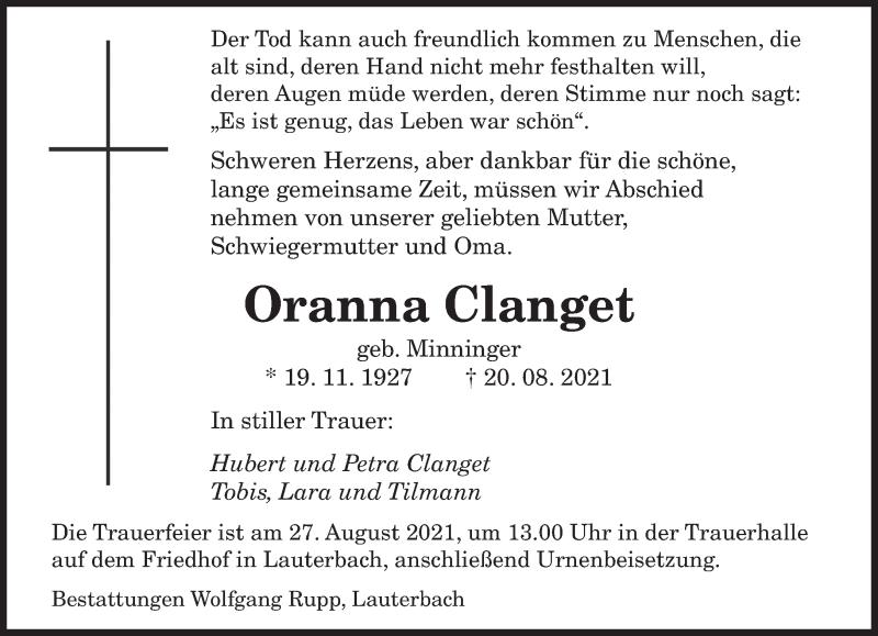 Traueranzeige für Oranna Clanget vom 25.08.2021 aus saarbruecker_zeitung