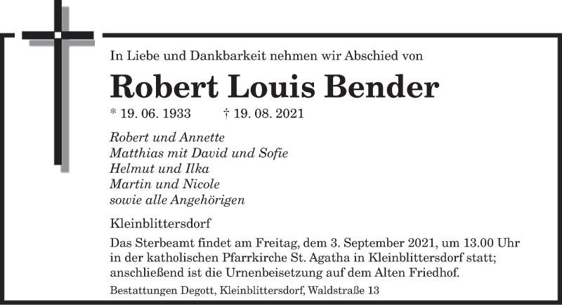 Traueranzeige für Robert Louis Bender vom 28.08.2021 aus saarbruecker_zeitung