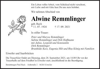 Traueranzeige von Alwine Remmlinger von saarbruecker_zeitung