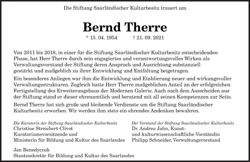 Traueranzeige für Bernd Therre vom 25.09.2021 aus saarbruecker_zeitung