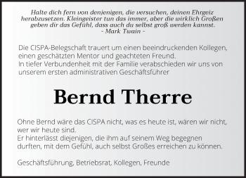 Traueranzeige von Bernd Therre von saarbruecker_zeitung