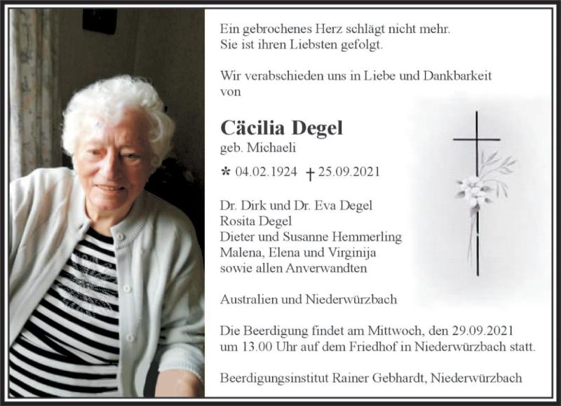 Traueranzeige für Cäcilia Degel vom 28.09.2021 aus saarbruecker_zeitung