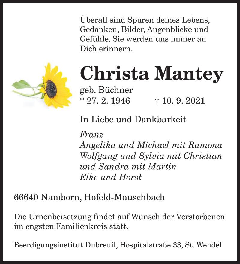 Traueranzeige für Christa Mantey vom 14.09.2021 aus saarbruecker_zeitung