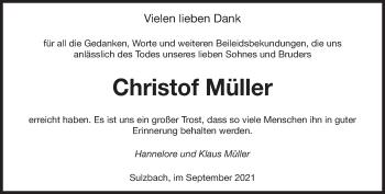 Traueranzeige von Christof Müller von saarbruecker_zeitung