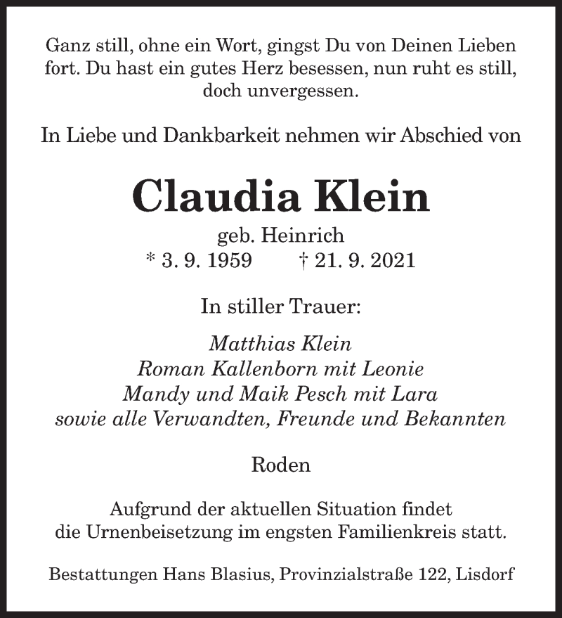 Traueranzeige für Claudia Klein vom 25.09.2021 aus saarbruecker_zeitung