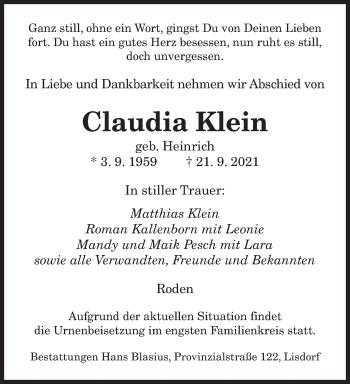 Traueranzeige von Claudia Klein von saarbruecker_zeitung