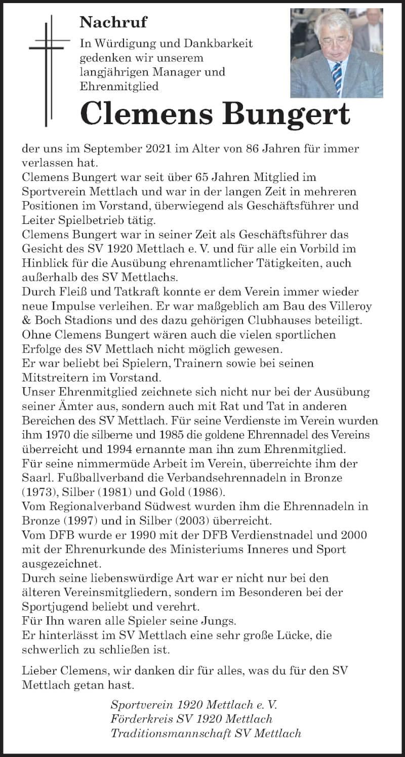 Traueranzeige für Clemens Bungert vom 18.09.2021 aus saarbruecker_zeitung