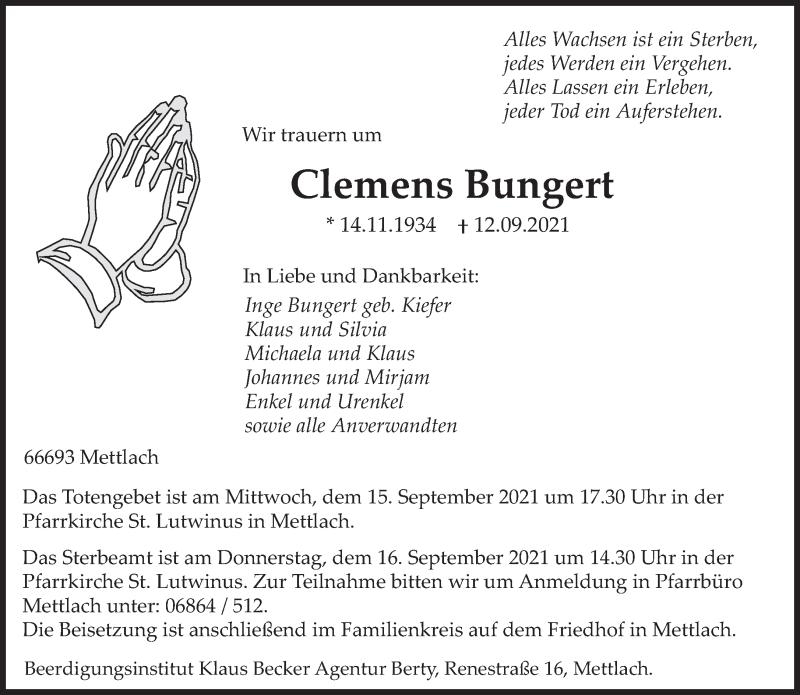 Traueranzeige für Clemens Bungert vom 14.09.2021 aus saarbruecker_zeitung