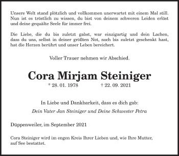 Traueranzeige von Cora Mirjam Steiniger von saarbruecker_zeitung
