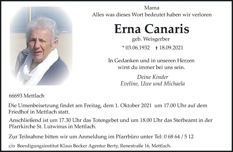 Traueranzeige für Erna Canaris vom 28.09.2021 aus saarbruecker_zeitung