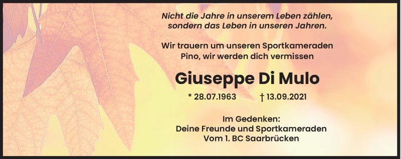Traueranzeige für Giuseppe Di Mulo vom 20.09.2021 aus saarbruecker_zeitung