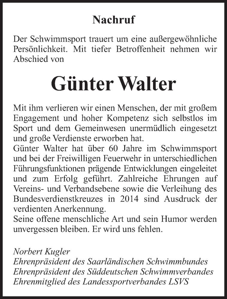 Traueranzeige für Günter Walter vom 15.09.2021 aus saarbruecker_zeitung