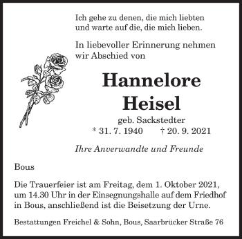 Traueranzeige von Hannelore Heisel von saarbruecker_zeitung