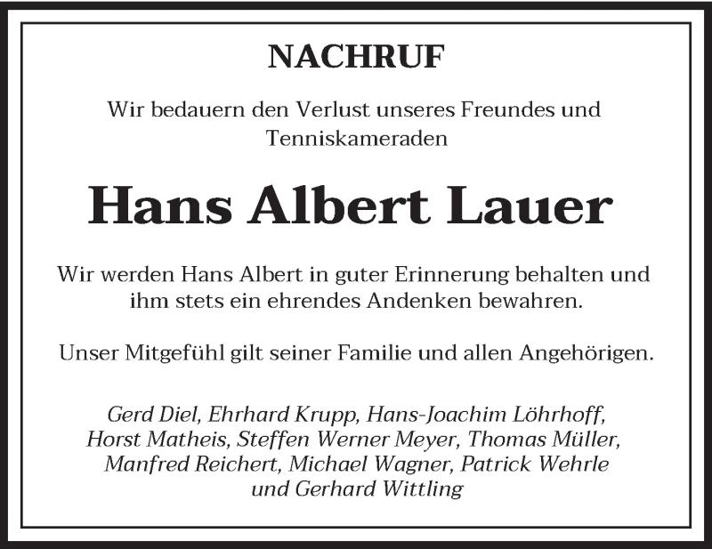 Traueranzeige für Hans Albert Lauer vom 25.09.2021 aus saarbruecker_zeitung