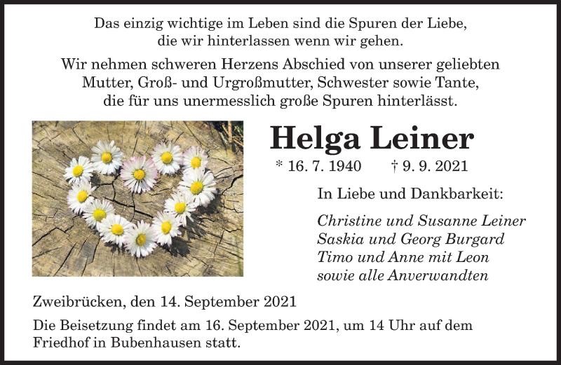 Traueranzeige für Helga Leiner vom 14.09.2021 aus saarbruecker_zeitung