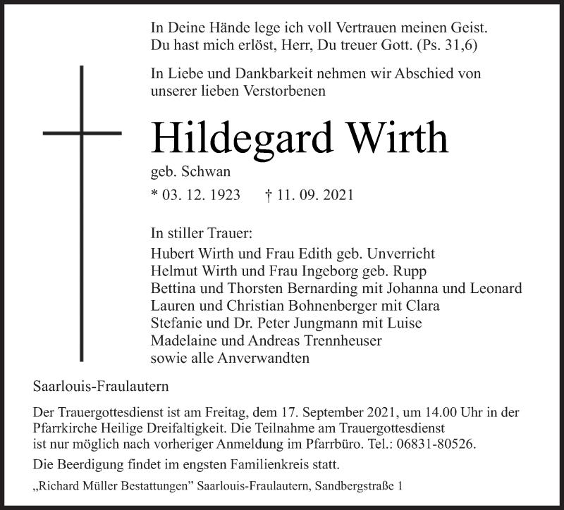 Traueranzeige für Hildegard Wirth vom 15.09.2021 aus saarbruecker_zeitung