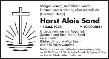 Traueranzeige von Horst Alois Sand von saarbruecker_zeitung