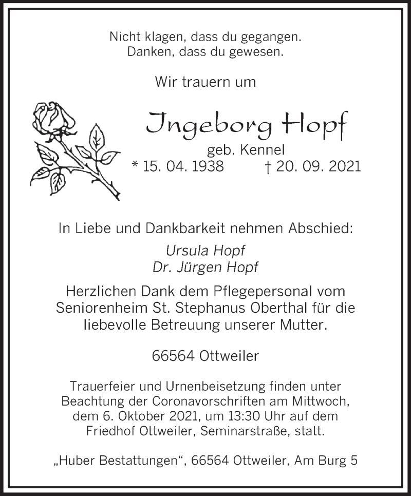 Traueranzeige für Ingeborg Hopf vom 25.09.2021 aus saarbruecker_zeitung