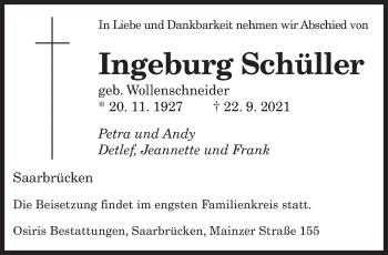 Traueranzeige von Ingeburg Schüller von saarbruecker_zeitung