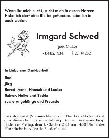 Traueranzeige von Irmgard Schwed von saarbruecker_zeitung