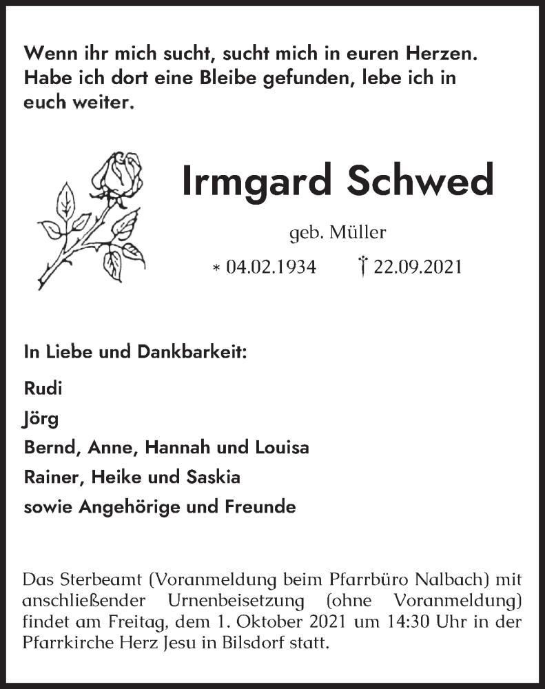 Traueranzeige für Irmgard Schwed vom 28.09.2021 aus saarbruecker_zeitung