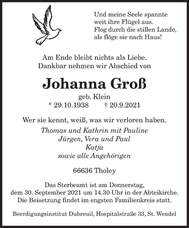Traueranzeige für Johanna Groß vom 27.09.2021 aus saarbruecker_zeitung