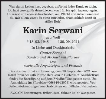 Traueranzeige von Karin Serwani von saarbruecker_zeitung