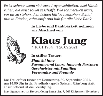 Traueranzeige von Klaus Jung von saarbruecker_zeitung