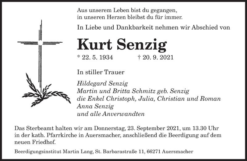 Traueranzeige für Kurt Senzig vom 22.09.2021 aus saarbruecker_zeitung