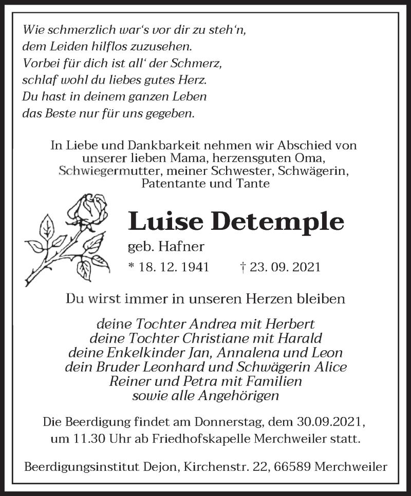 Traueranzeige für Luise Detemple vom 27.09.2021 aus saarbruecker_zeitung