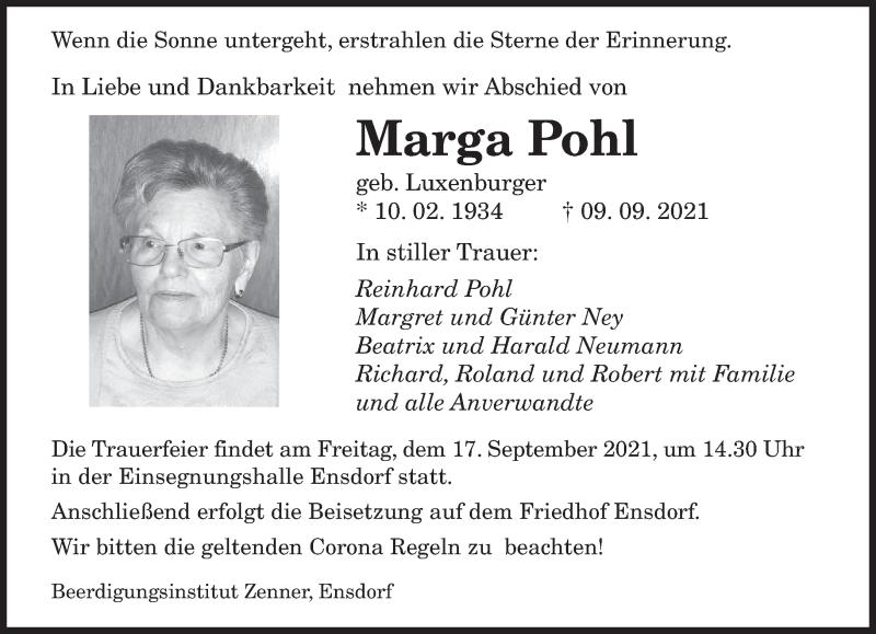 Traueranzeige für Marga Pohl vom 14.09.2021 aus saarbruecker_zeitung