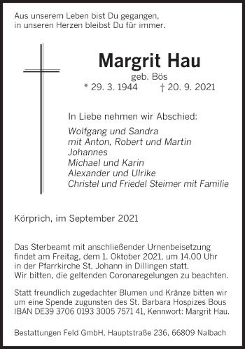 Traueranzeige von Margrit Hau von saarbruecker_zeitung