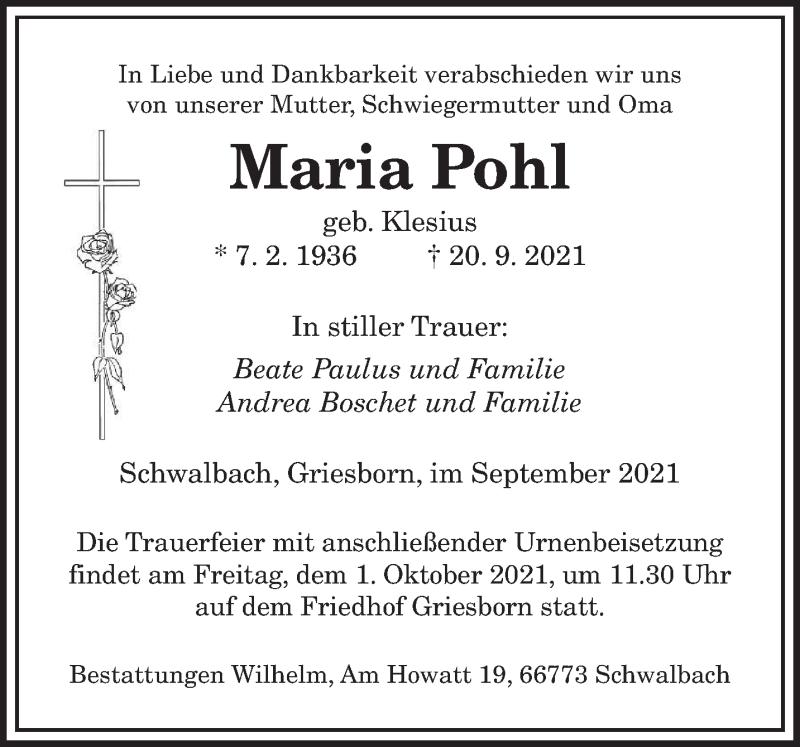Traueranzeige für Maria Pohl vom 25.09.2021 aus saarbruecker_zeitung