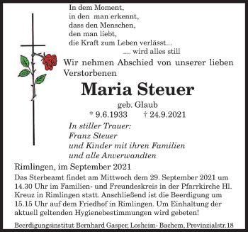 Traueranzeige von Maria Steuer von saarbruecker_zeitung