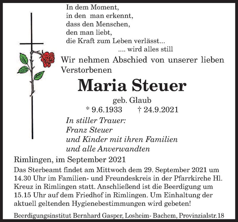 Traueranzeige für Maria Steuer vom 27.09.2021 aus saarbruecker_zeitung