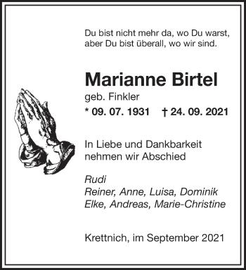 Traueranzeige von Marianne Birtel von saarbruecker_zeitung