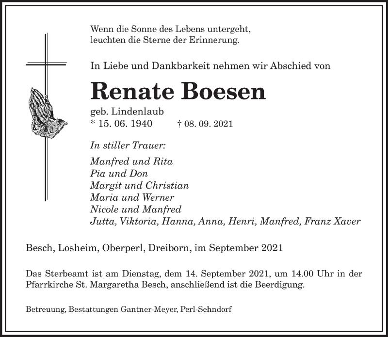 Traueranzeige für Renate Boesen vom 11.09.2021 aus saarbruecker_zeitung