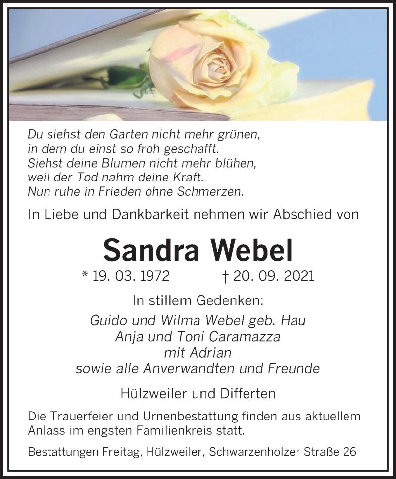 Traueranzeige für Sandra Webel vom 22.09.2021 aus saarbruecker_zeitung