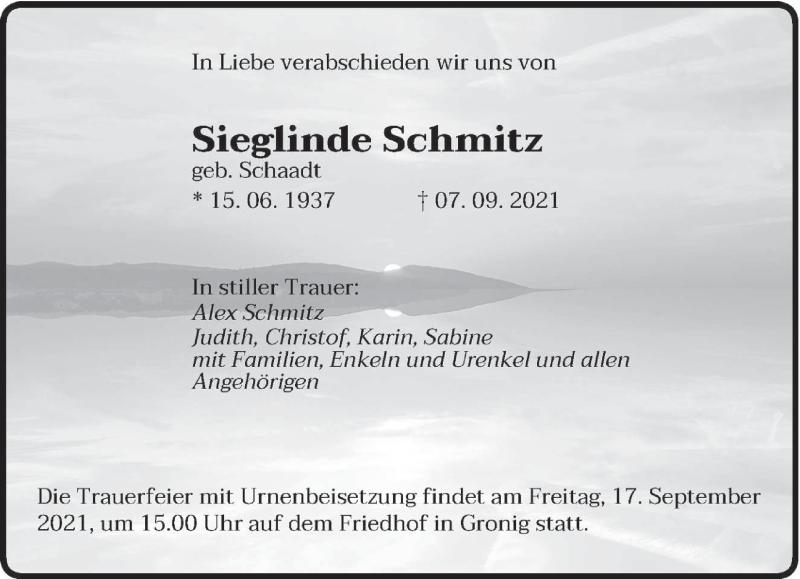 Traueranzeige für Sieglinde Schmitz vom 15.09.2021 aus saarbruecker_zeitung